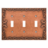 Franklin Brass W35078-CPS Classic Lace Triple Switch Cover Plate Sponged Copper