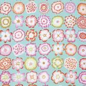 Kaffe Fassett PWGP152 Button Flowers Aqua Cotton Fabric By The Yard