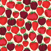 Snow Leopard English Garden PWSL056 Strawberry Fields Cream Cotton Fabric By Yd