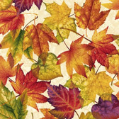 Henry Glass Autumn Album 2017-44 Leaves Cream Cotton Quilting Fabric By Yd