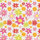 David Walker PWDW136 Pandas Daisy Pink Cotton Fabric By Yard