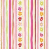 David Walker PWDW137 Pandas Daisy Stripe Pink Cotton Fabric By Yard
