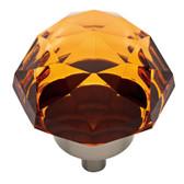 "Liberty P36737C-AMB 1 3/8"" Large Faceted AmberGlass & Satin Nickel Cabinet Knob"