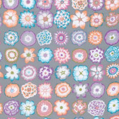 Kaffe Fassett PWGP152 Button Flowers Grey Cotton Fabric By The Yard
