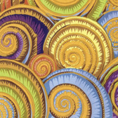 Philip Jacobs PWPJ073 Spiral Shells Gold Cotton Quilting Fabric By Yard