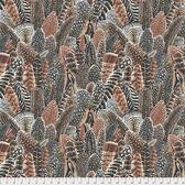 Snow Leopard Arcadia PWSL07 Farmyard Feathers Neutral Cotton Fabric By Yd