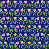 Jane Sassaman Spring Fever PWJS099 Tulips Indigo Cotton Fabric By Yard