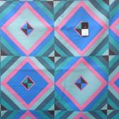 Pre-Cut Amy Butler LIAB004 Hapi Sky Pyramid Cobalt Linen Fabric  By The Yard