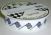 "Racing Flag Fabric Grosgrain Ribbon 7/8"" Wide  10 Yards"