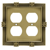 64468 Tumbled Antique Bronze Pineapple Double Duplex Outlet Cover Plate