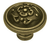 PN1510-ABT  38mm French Lace Cabinet Drawer Pull Tumbled Antique Brass