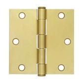 """HN0008C-SBA  3 1/2"""" Square Corner Door HInge Brass Plate"""