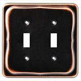 144405 Tenley Bronze & Copper Double Switch Cover Wall Plate
