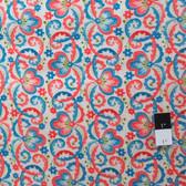 Victoria and Albert PWVA010 Garthwaite Scroll Teal Fabric By Yard