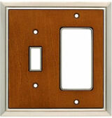 126476 Satin Nickel and Dark Caramel Wood Insert Single Switch GFCI Cover Plate