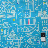 Erin McMorris FEM06 Irving Street Downtown Turquoise Flannel Fabric By The Yard