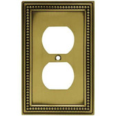 W10103-ABT Antique Brass Beaded Duplex Cover Plate