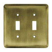 64089 Antique Brass Stamped Steel Double Switch Cover Plate