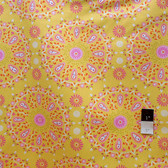 Dena Designs LIDF005 Sunshine Circle Medallion Yellow Linen Fabric By Yard