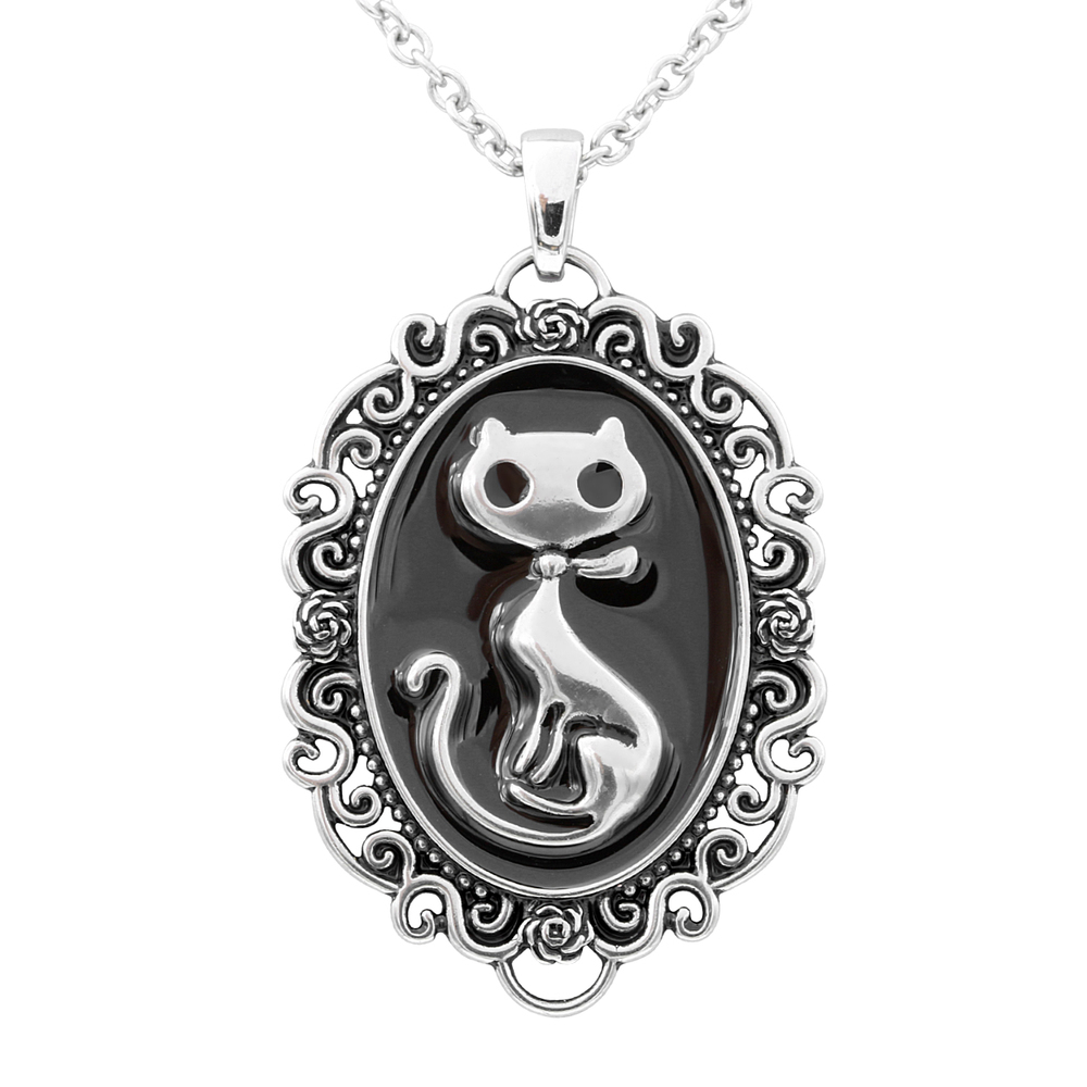 Cat Silhouette Cameo Necklace