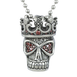 Red Fire Skull with Crown Necklace