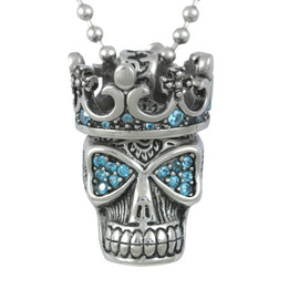 Blue Fire Skull with Crown Necklace