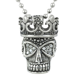 White Fire Skull Necklace