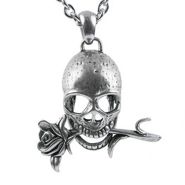 Memento Mori - Skull with Rose Necklace