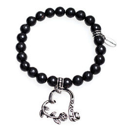 Garden Heart Bracelet with Black Marble