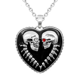 Bound For Eternity Skull Heart Necklace