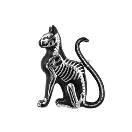Cat Pin Feline Skeleton