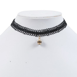 black lace chocker necklace with crown