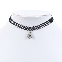 black lace chocker necklace with skull, cross bone