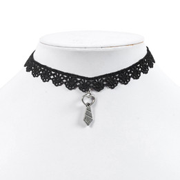 black lace chocker necklace with heart neck tie
