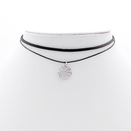 Black Double Imitation Leather choker necklace with rose