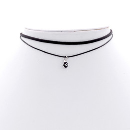 Black Double Imitation Leather choker necklace with devil eye