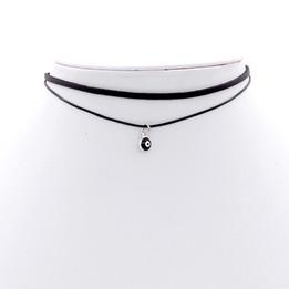 Black Double Imitation Leather choker necklace with devil eye