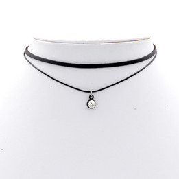 Black Double Imitation Leather choker necklace with cz stone