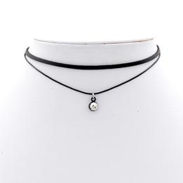 Black Double Imitation Leather choker necklace with cz stone