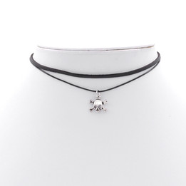 Black Double Imitation Leather choker necklace with skull