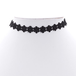 black big flower pattern choker necklace