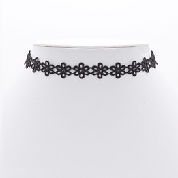 black flower patrern choker necklace