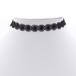 black round flower pattern choker necklace