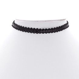 black plastic round flat flake lace necklace