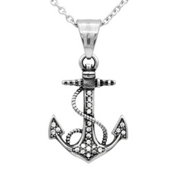 White CZ Anchor Necklace
