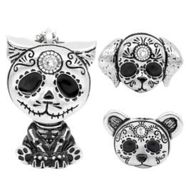 Day of the Dead Animal Necklace Interchangeable Sugar Skull Pendant - Skeleton