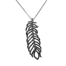 Feather Necklace - Black Rhodium Plated Over Brass with Black Cubic Zirconia