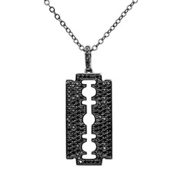 Blade Necklace - Black Rhodium Plated Over Brass with Black Cubic Zirconia