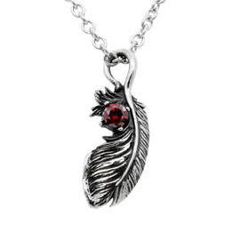 Feather Necklace with Red Cubic Zirconia