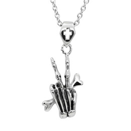 Punk Gothic Stainless steel Skeleton Hand Bone Pendant Necklace